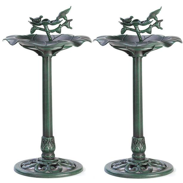 Sculpted Plastic Birdbath with Weathered Verdigris Finish Set of 2 NEW