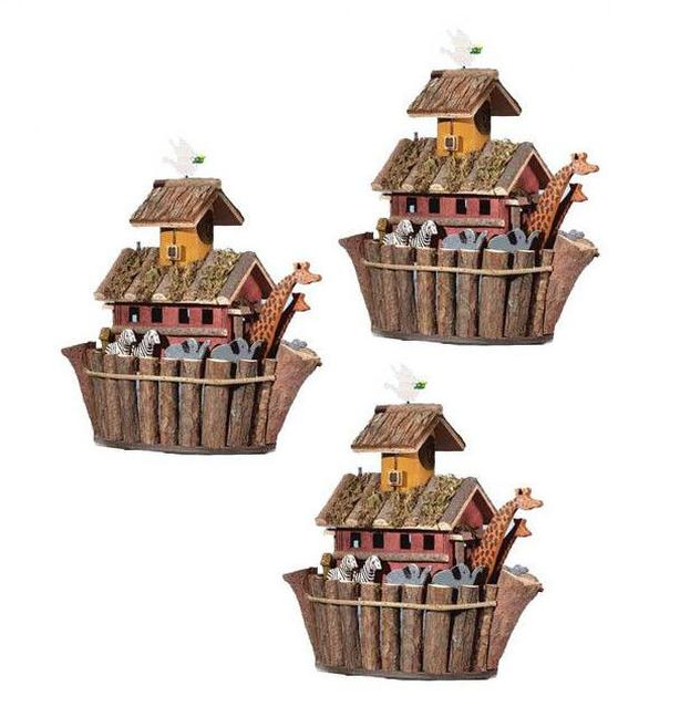 Bulk Buy Rustic Primitive Christian Birdhouse Noah's Ark Gifts Resale 3 Lot NEW