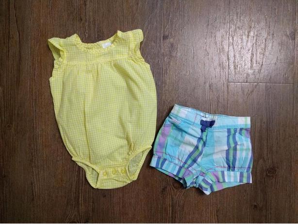 EEUC - 0-3m, lightweight summer yellow & white gingham onesie/romper & shorts