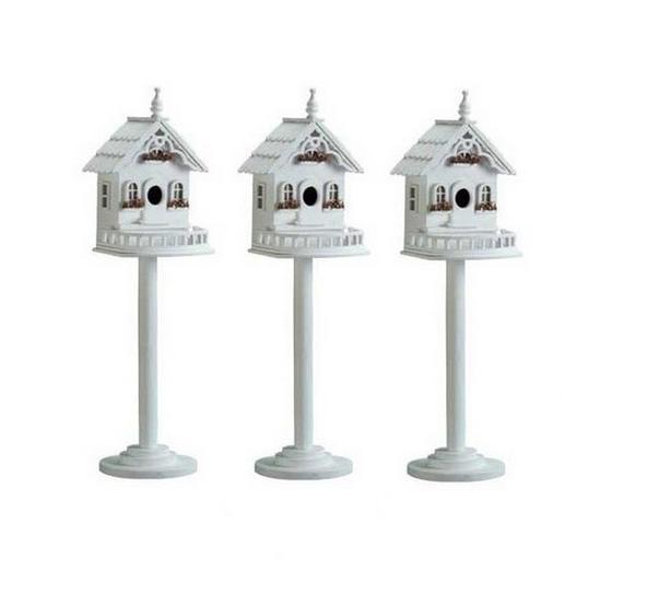 Freestanding Victorian-Style Luxury Villa Pedestal Birdhouse Birdfeeder 3 Lot