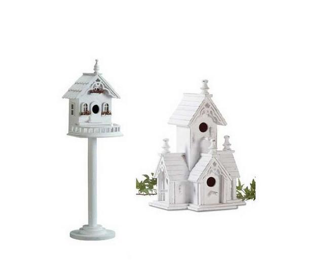 Victorian Birdhouses Freestanding Pedestal Base & Hanging 2 Styles 4PC Mix