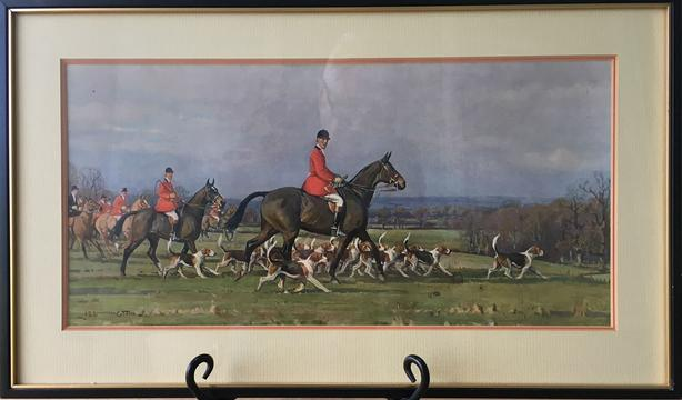 Like New Traditional Fox Hunt, Under Glass Wood Frame Signed