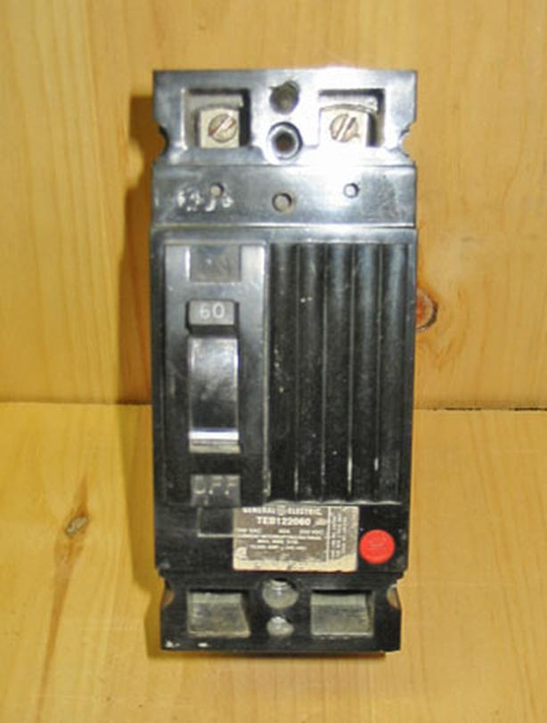 GENERAL ELECTRIC 'Type TEB' 60 Amp, 2 Pole, 240 Vac Circuit Breaker ~ Rare!