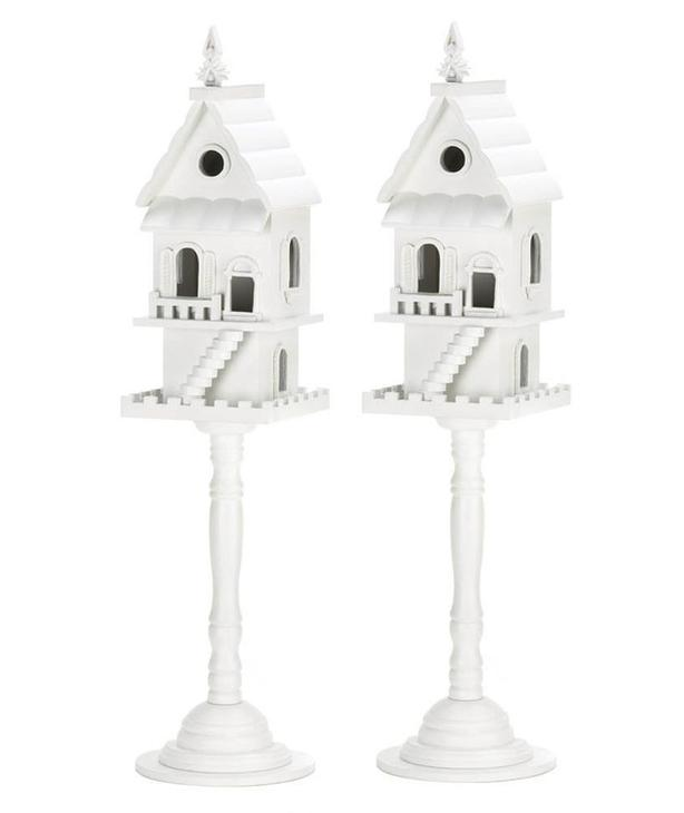 Freestanding Two-Story Luxury Pedestal Birdhouse Birdfeeder Staircase Front 2Lot