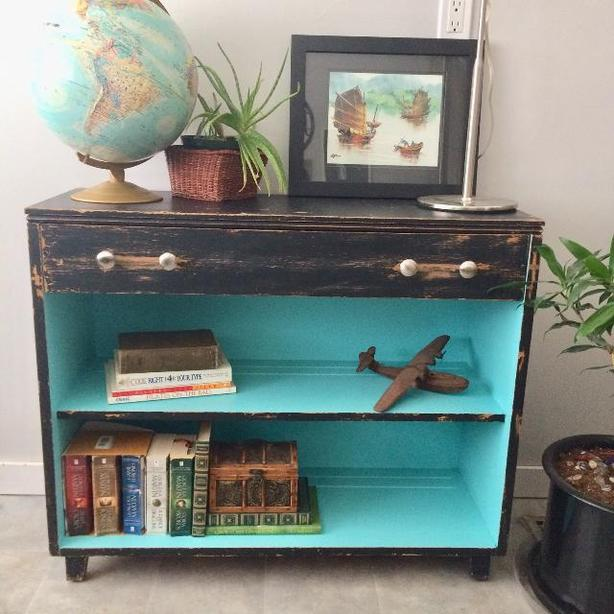 Vintage Solid Wood Shelf Unit With Drawer Bookshelf Small Sideboard Tv Stand