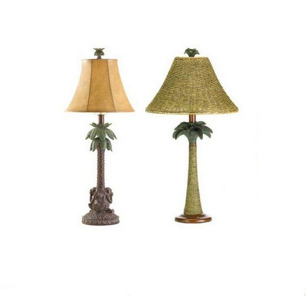 Tropical Palm Tree See No Evil Monkeys Table Lamp 2 Styles 2 Lot Choice NEW