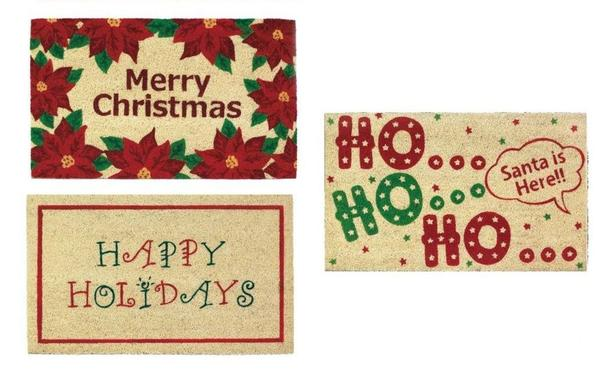 Christmas Welcome Entry Doormat 4 Designs Bulk Buy of 8 Mix & Match NEW