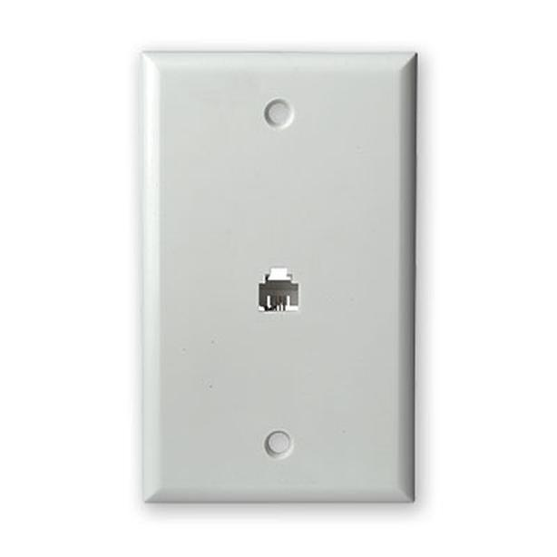 SCP Telephone Flush Mount Wall Jack Plate - White (219/WH)