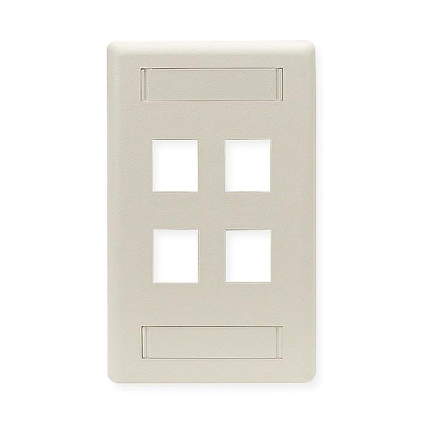 HUBBELL 1 Gang 4 Port Wall Plate - Office White (IFP14OW)