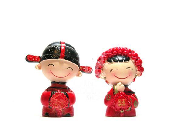 Chinese Bride & Groom Figurine Wedding Cake Topper