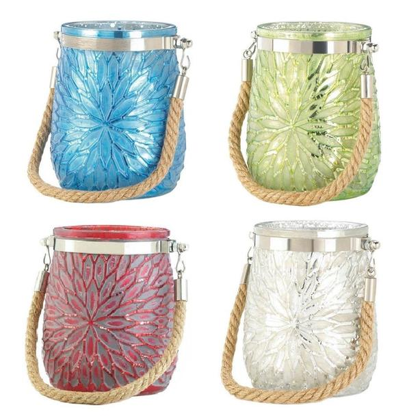 Jar Candleholder Rope Handle Blue Green White Red 4 Lot Mix&Match