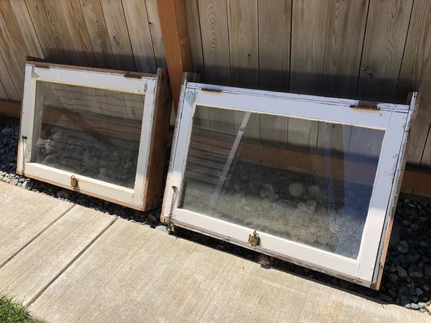 Pair of Antique Fir Windows & Frames