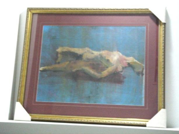 Framed Original Abstract Female Nude Painting