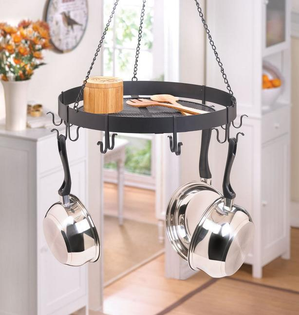 Round Hanging Kitchen Pot Holder Rack & Stainless Steel Cookware Set Mixed Lot