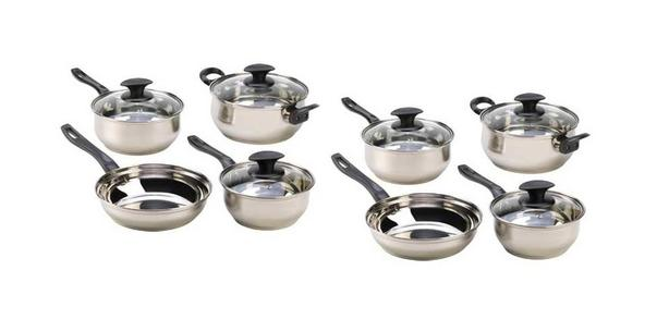 7PC Stainless Steel Cookware Set with Lids Lot of 2 Sets (14pc) Brand New