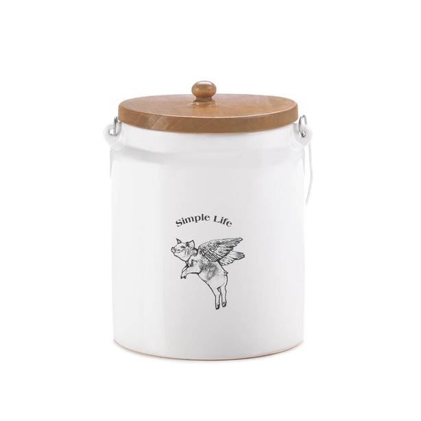 Flying Pig Kitchen Canister Jar Wood Lid & Metal Handle Set of 4 +Gift