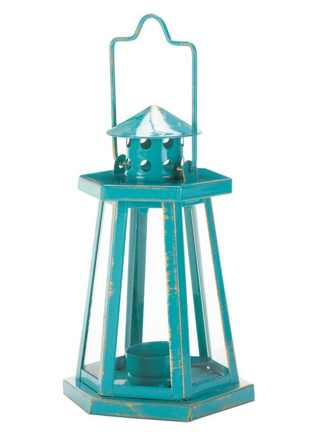 Mini Metal Lighthouse Candleholder Lantern Aqua Turquoise Teal Blue 5 Lot NEW
