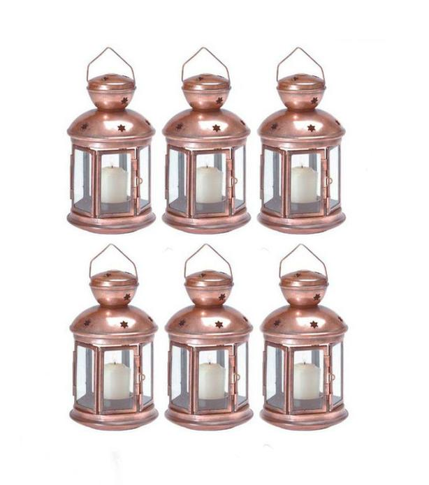 Country Western Rustic Burnished Copper Candleholder Lantern Lamp 6 Lot NEW