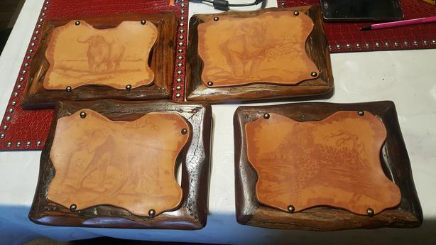 4 OLD wooden frame with a lether picture