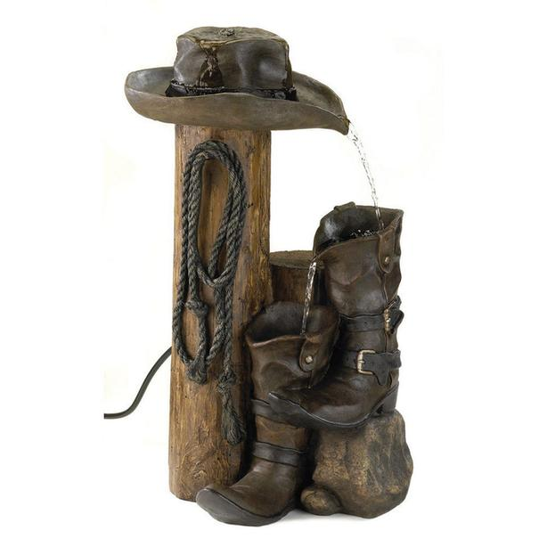 Country Western Water Fountain with Cowboy Boots & Hat Fence Post Column & Lasso