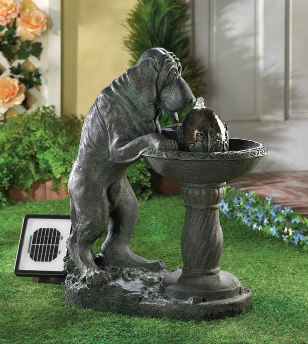 Whimsical Bronze-Look Thirsty Dog Solar Fountain with Adapter Brand New