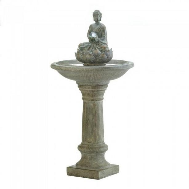 Buddha Fountain with Pedestal Base & Light-Up Glass Orb Brand New