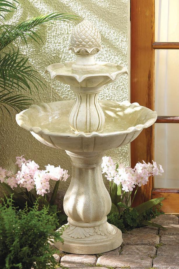 Ivory Stone-Look 3-Tier Acorn Fountain 38-Inches Tall Brand New