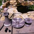 Faux Stone 2-Tier Water Fountain Sculpted Pineapple Center Mosaic-Look Trim NEW