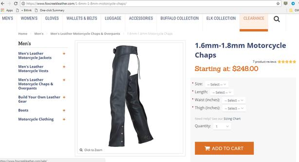 Fox Creek Motorcycle Chaps