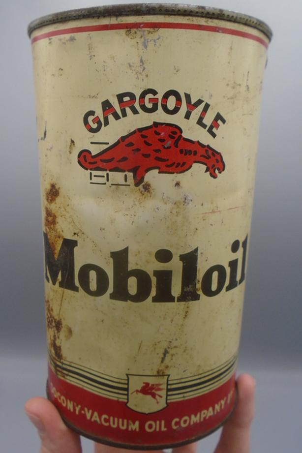 VINTAGE 1930's GARGOYLE MOBILOIL MOTOR OIL IMPERIAL QUART CAN