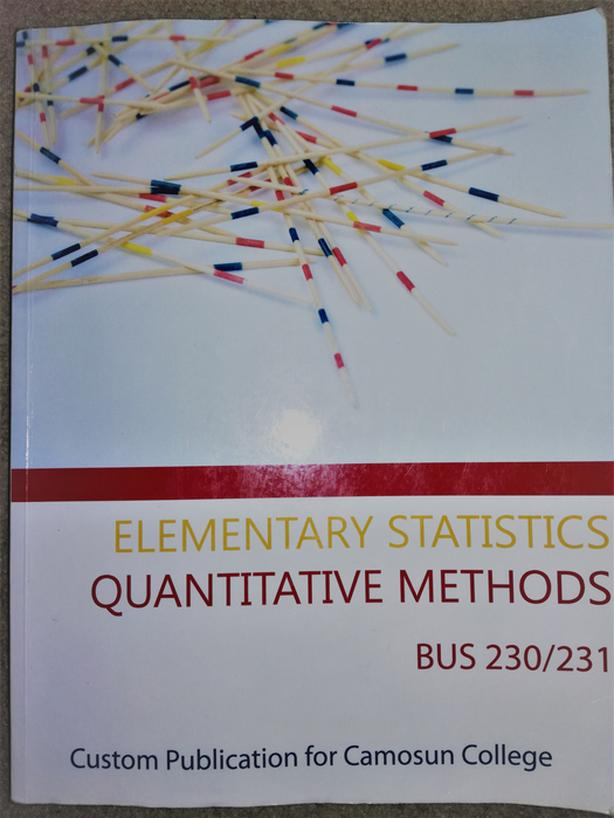 Elementary Statistic Bus 230/231 Camosun textbook Victoria City