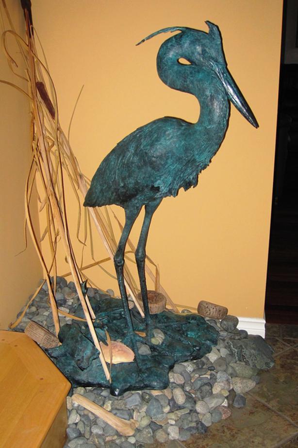 Bronze Heron - Solitude. For Garden or inside
