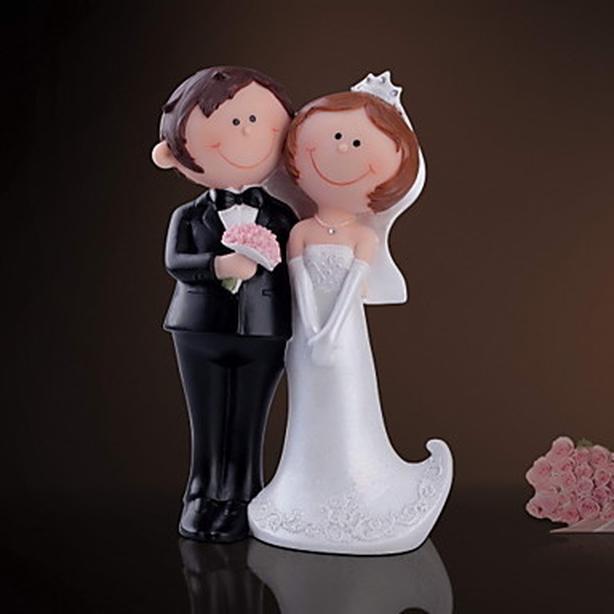 "Bride & Groom Figurine Wedding Cake Topper - H7-7/8"""