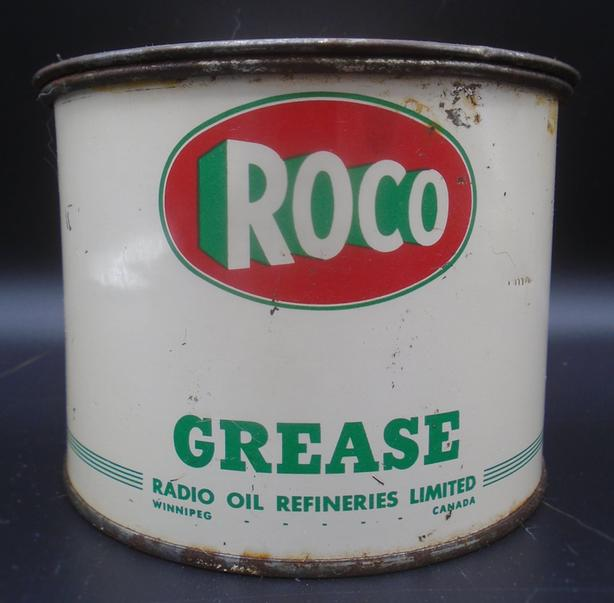 RARE 1950's VINTAGE ROCO GREASE (1 LB.) CAN - RADIO OIL WINNIPEG