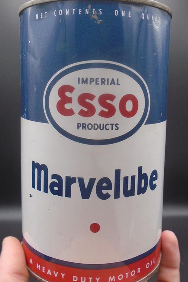 VINTAGE 1960's ESSO MARVELUBE MOTOR OIL IMPERIAL QUART CAN