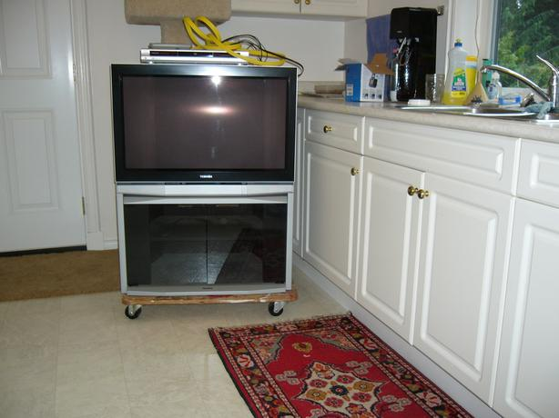 9 year old Toshiba tube TV, stand and DVD player