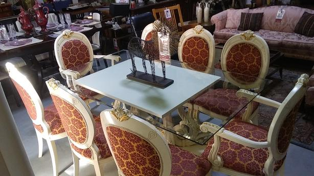 Dining set with 8 chairs/hutch from Spain