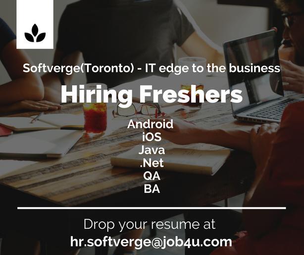 Softverge(Toronto) - Hiring Freshers