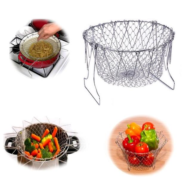 New in Package Foldable Steam Rinse Strain Fry Chef Basket