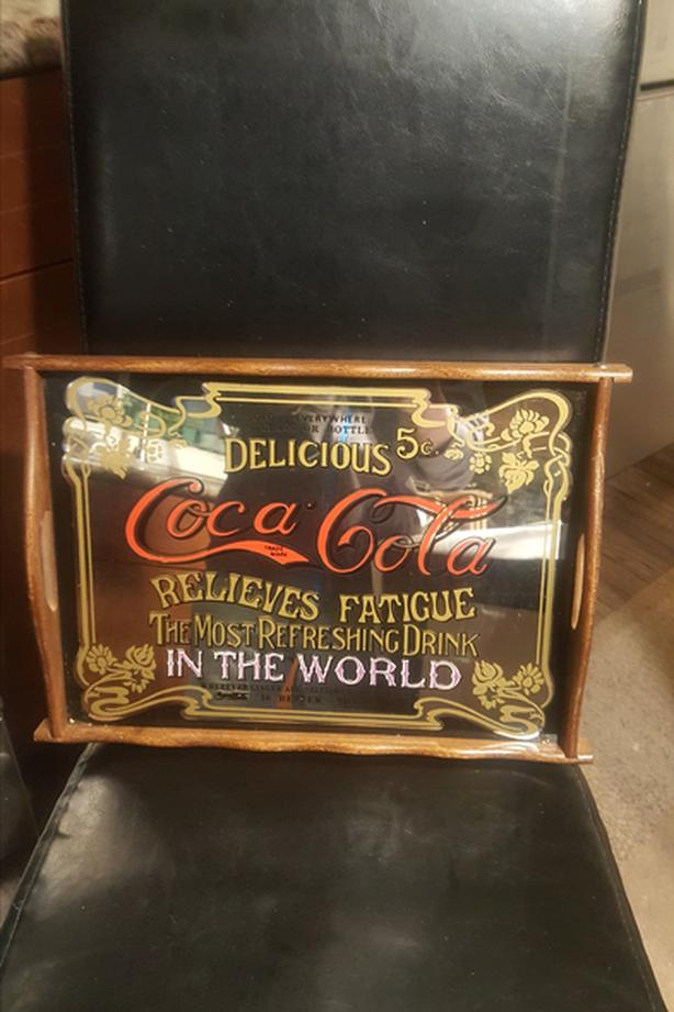Vintage Old 1970 Coca Cola Coke MIRROR BAR SERVING TRAY WALL SIGN Wood 2 Handle
