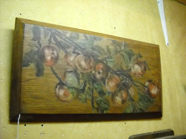 4U2C Antique Wood Oak Plank Painting Bearing Fruit