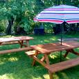 New Handmade Cedar-Stained Picnic Tables (Island Tables)