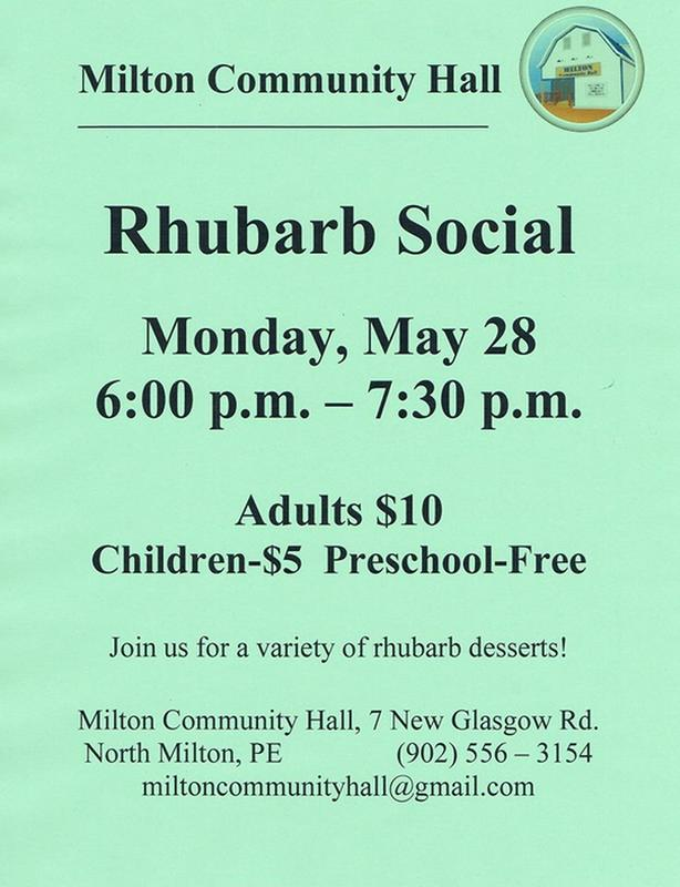 Rhubarb Social at the Milton Community Hall