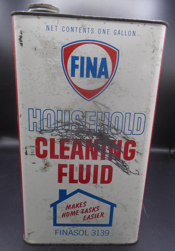 VINTAGE 1950's FINA HOUSEHOLD CLEANING FLUID IMPERIAL GALLON CAN