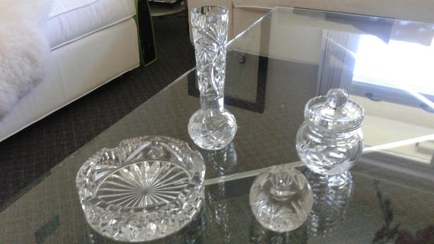 Crystal Vase Ashtray Candle Holder Jam Jar