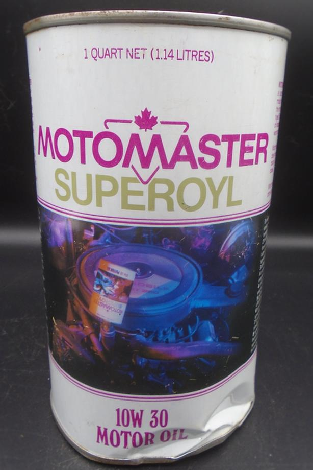 VINTAGE 1970's CANADIAN TIRE MOTO-MASTER SUPEROYL MOTOR OIL CAN