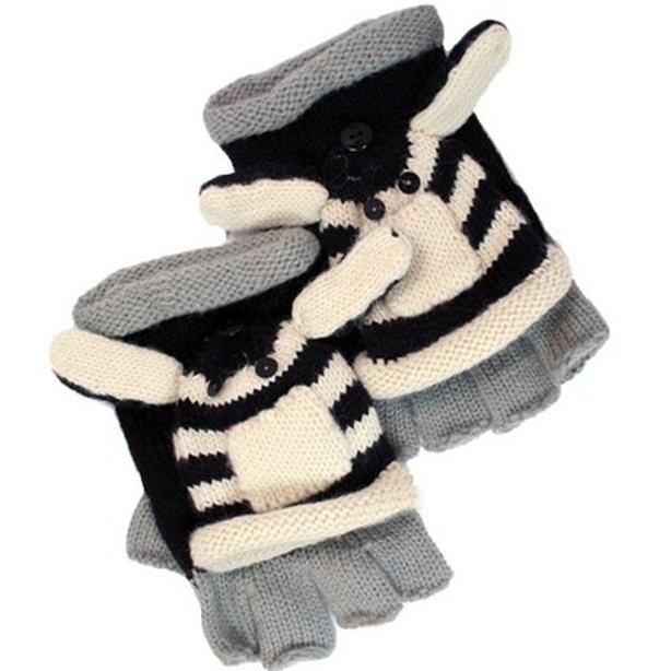 David & Young D&Y Critter Kingdome Flip Top Gloves - Zebra