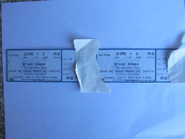 $230 Bryan Adams tickets