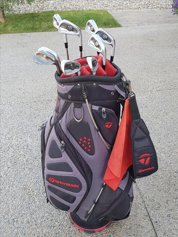 Taylor Made tour preferred forged clubs and Cart Lite bag