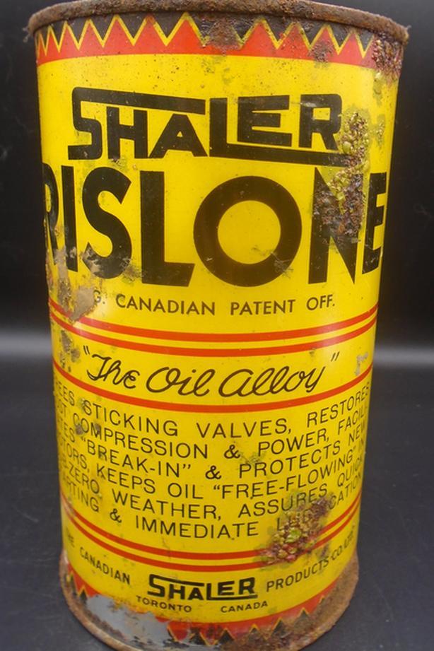 VINTAGE 1945's SHALER RISLONE MOTOR OIL IMPERIAL QUART CAN